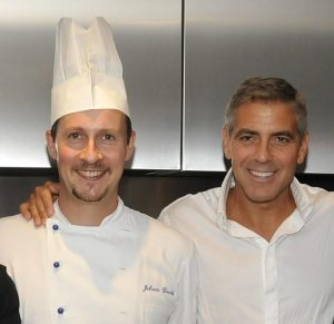 David Jéhan et Georges Clooney lors de la convention Barack Obama 2008